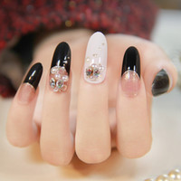french manicure nails - New japanese d nails black french manicure oval form long design salon fake nail
