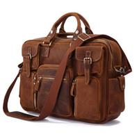 crazy horse leather - Hot Sale Crazy Horse Leather Laptop Bag Men s Bag Briefcase Leather Totes B