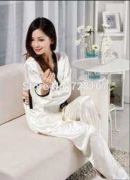 Wholesale Women Sexy Silk Long Sleeve Autumn Winter Chiffon Pijama Sleepwears Pajamas Pyjamas hot saie