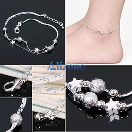 Wholesale Special Stars Bells Silver Plated Chain Anklet Ankle Bracelet Foot Barefoot Sandal Beach Anklets