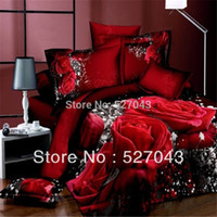 fabric painting - Red Wedding Rose D Oil Painting Print fabric Bedding Set Comforter sets Full Queen Size PDN08