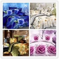 Cheap Wholesale-2015 HOT 3D Luxury bedding set,bed linen,4pcs Contains: quilt bed sheets pillowcases..king size FREE SHIPPING
