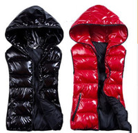 Wholesale New Arrival Winter sleeveless women s Hooded shiny vest jacket outfits lady fashion down padded casual zipper waistcoat