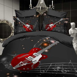Wholesale d bedding set guitar music sculpture art cotton luxury bed linen duvet cover flat sheet pillow case king queen size bed