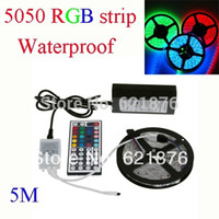 Wholesale roll M RGB SMD Flexible Waterproof leds M V LED Strip with controller adapter for home Car decor Freeshipping