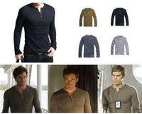 dexter - Mens Shirt Showtime Dexter Kill Shirt Henley Long Sleeve Slim Tee Army Black