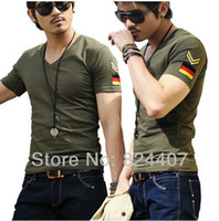 armbands for shirts - Casual Slim Fit V Neck T Shirt For Men T Shirt camisetas Fashion Summer Army Green Militare Armband Plus Size TShirt Clothing