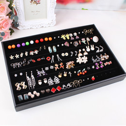 Black velvet leather earrings frame wheel stud earring earrings jewelry holder display rack storage box accessories display rack