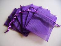 al por mayor jewlery regalo-El envío al por mayor-libre, 100pcs / lot bolsas de organza colores púrpura 9x12 cm, bolsas de regalo de boda de Christams, Jewlery Bolsas bolsas del embalaje del regalo