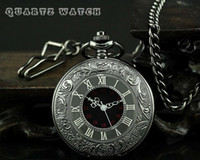 Cheap Wholesale-2 Pcs Wholesales High Quality Japan Movement Big Size Black Roma Number Hollow Skeleton Case Mechanical Pocket Watch With Chain
