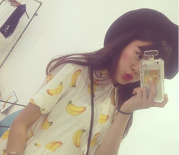Wholesale New Women Summer Dress Banana Watermelon Print Turn down Collar Casual Short Sleeve Dresses Girl Slim Dress