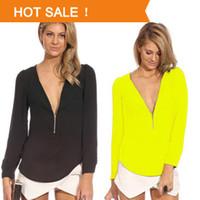 Cheap Wholesale-2015 Women Sexy Chiffon Blouse Slim Fit Casual Ladies 6 Color Zipper Top Shirts Tops Size S M L XL XXL Drop shipping
