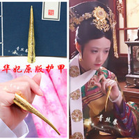 Cheap Wholesale-10pcs lot queen's fingernails metal bent nails set sleeve Chinese traditional cultural products nail cover jewelry free
