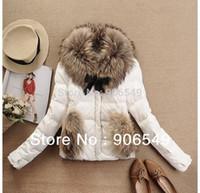 Wholesale Hot winter luxury large raccoon fur collar duck feather down coat ladies down Short jacket coat outerwear