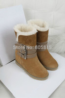 designer sheepskin boots - ASH Brand Designer Genuine Sheepskin Wool Leather Buckle Strap Women Boots Winter Warm Ankle Snow Boots Shoes