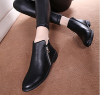 american retro shoes - women autumn European and American retro pointed toe shoes side zipper women s flat Black Khaki leather ankle boots