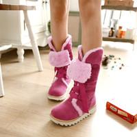 womans shoes - Fashion Winter Womans Shoes New Lace Up Women Warm Fur Snow Boots Sexy Leopard Ladies Plus Size Casual Boots Blue Pink Hot