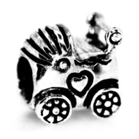 Cheap Wholesale-Baby Carriage Charm 925 Sterling Silver Beads For European Charm Bracelets