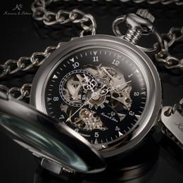 Wholesale KS Luxury Black Skeleton Self stand Case Analog Hand Wind Mechanical Relogio Fob Pendant Chain Steampunk Men Pocket Watch KSP063