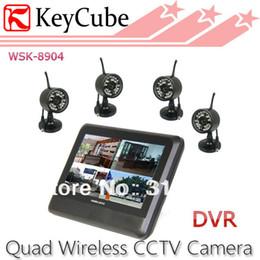 Promotion quad lcd Gros-sans Fil 4CH Quad DVR de Sécurité Système de surveillance Bébé 4 Caméras de 7 pouces TFT écran LCD gratuit livraison Express en gros