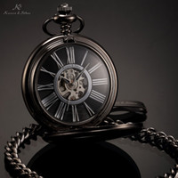 steampunk pocket watch - KS Antique Black Skeleton Dial Black Alloy Case Analog Hand Wind Clock Necklace Steampunk Men Mechanical Pocket Watch KSP035