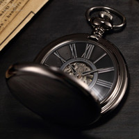 Wholesale KS Antique Black Skeleton Dial Black Alloy Case Analog Hand Wind Clock Necklace Steampunk Men Mechanical Pocket Watch KSP035
