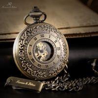 skeleton key - Retro Gold KS Automatic Mechanical Skeleton Alloy Case Copper Key Style Pendant Roman Dial Luxury Case Men Pocket Watch KSP043