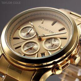 Wholesale Taylor Cole Luxury Brand Auto Date Display Gold Full Steel Strap Relogio Feminino Quartz Analog Dress Women Wristwatch TC006