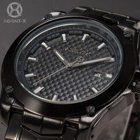 Cheap AGENTX Luxury Brand Calendar Auto Date Display Black Steel Band Relogio Japan Movement Quartz Analog Men Business Watch AGX076