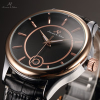 auto winner - KS Mens Black Rose Gold Stainless Steel Clock Calendar Display Leather Band Self Wind Automatic Mechanical Fashion Watch KS264