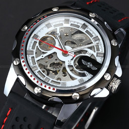 Wholesale New Stainless Steel Silver Case Analog Men Skeleton Auto Mechanical Black Rubber Silicone Band Sport Running Wrist Watch PMW082