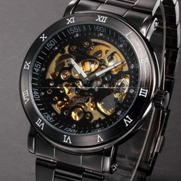 Vintage Skeleton Cadran Noir Acier Inoxydable Plein Relogio Mâle Automatique Automatique Wind Watch Mens Business Montre / PMW210 à partir de cru mens watch automatique fabricateur