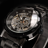 steampunk watches - Mens Fashion Transparent Steampunk Homme Montre Skeleton Black Gift Men Mechanical Hand Wind Stainless Full Steel Watch PMW236