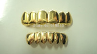 Wholesale REAL GOLD REAL SHINY IMI SILVER PLATED HIPHOP TUSH TEETH VAMPIRE GRILLZ TOP AND BOTTOM GRILL SET