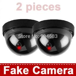 Wholesale-2 pieces Fake CCTV Security Cameras Dummy Camera Wireless Indoor Dome IR LED Surveillance CCTV Camera Realistic Looking