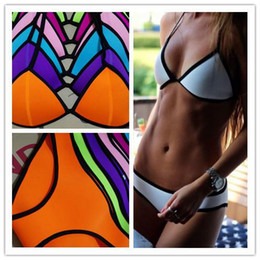 online shopping 2015 Swimsuit Sexy Swimwear Women MILLY Triangl Neoprene Bikinis Triangl Swimsuit Set Push Up Bikini Set XS L Top Qual5