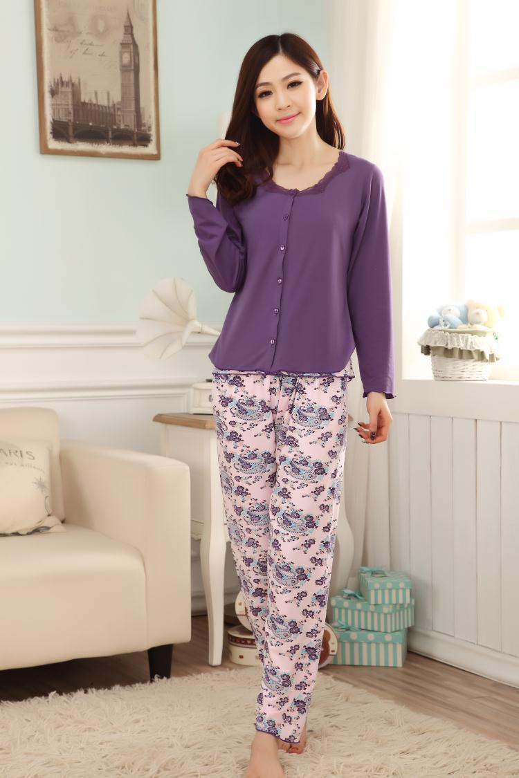 2017 Wholesale Pijama Women Nightwear Knitted Pyjamas Women Cotton ...
