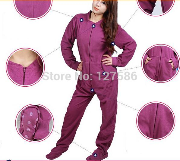 2017 Wholesale Fleece Plus Size Women Footed Pajamas Warm Winter ...