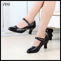 ballroom practice - Genuine Leather Sole Soft Female Women Dance Shoes Black Red White Closed Round Toe Ballroom Latin Dance Shoe Practice Teachers