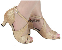 Wholesale Professional bling high heel latin ballroom dance shoeswomen red gold colors soft outsole