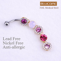 Wholesale Violetta Best Sexy Body Navel Belly Button Piercing Ring Flore Spiral Crystal L Medical Stainless Steel Women Perfume Pin Up