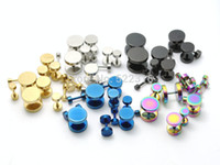 blue stainless steel earring - mix color size stainless steel round fake ear plugs steel black gold blue rainbow color cheaters studs earrings