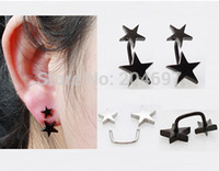 Wholesale x Pair New Arrival Unique Black Double Star Screw Earrings Stud Titanium Anodized Stainless Steel Ear Piercing
