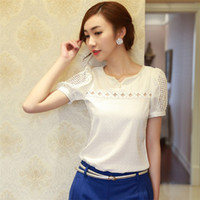 Cheap Wholesale-New spring summer blouses v-neck women chiffon blouse plus size Solid Fashion backing shirt free shipping size S-XXL WF-622