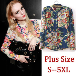 Wholesale-2015 Plus Size Woman Blouse Long Sleeve Print Floral Chiffon Shirt Autumn Blue Women Clothing Blusas 6XL 5XL 4XL XXXL LL1334