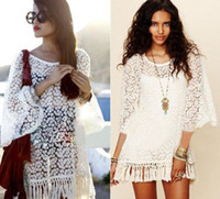 festival clothing - 2016 Vintage Hippie Boho Bell Sleeves Gypsy Festival Fringe Sexy Lace Mini Dress Tops Women Summer Tassel White Clothing