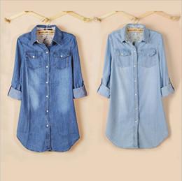 Wholesale-Women 2015 New Long Sleeve Slim Blue Denim Shirt Dress Jeans Blouse Coat Jacket Tops Long Style ZD116