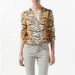 Wholesale-W25  CHIC SEXY LONG SLEEVE V-NECK TIGER PRINT SHIRT BLOUSE TOP