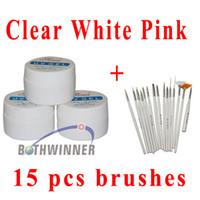 acrylic gel - Pink Clear White UV Gel Nail Polish Nail Art Builder Acrylic Gel Nail Art Design Painting Pen Polish Brush Set