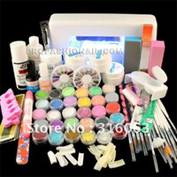 acrylic powder coating - Full Set Acrylic Powder UV Gel kit Brush Pen UV Lamp Nail Art DIY Manicure kit NA885